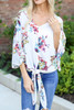 White - Model wearing the Erin Floral Tie-Front Blouse front detailed view