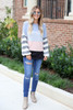Model wearing Denim Soft Knit Balloon Sleeve Color Block Top  Full View
