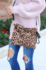 Camel - Oversized Leopard Print Clutch With Strap Flat Lay