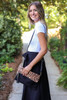 Leopard - and Black Fold Over Clutch with Model