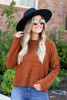 Dress Up Model wearing Brown Cropped Fuzzy Knit Sweater