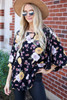 Black - Floral Wide Sleeve Blouse from Dress Up Side View