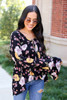 Dress Up Model wearing Black Floral Bell Sleeve Babydoll Blouse