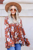 Dress Up Model wearing Rust Floral Bell Sleeve Babydoll Blouse
