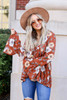 Rust - Floral Bell Sleeve Babydoll Blouse
