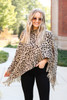 Dress Up Model wearing Taupe Leopard Fringe Poncho