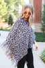 Dress Up Model wearing Grey Leopard Fringe Poncho