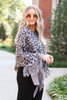 Dress Up Model wearing Grey Leopard Fringe Poncho Side View