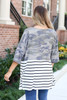 Dress Up Model wearing Camo and Striped Color Block Side Split Cardigan Back View