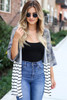 Dress Up Model wearing Camo and Striped Color Block Side Split Cardigan