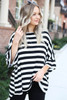 White - and Black Striped Oversized Tee