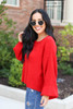 Dress Up Model wearing Red Balloon Sleeve Knit Sweater Side View