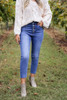 Medium Wash - Button Fly Stretch Fit Mom Jeans Detail View