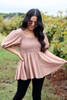 Dress Up Model wearing Taupe Smocked Bust Puff Sleeve Blouse