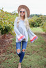 Grey - Color Block Sleeve Jersey Knit Top Full View