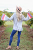 Grey - Color Block Sleeve Jersey Knit Top Back View