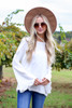 Ivory - Lace Trim Bell Sleeve Top