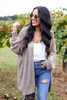 Dress Up Model wearing Taupe Lightweight Knit Baggy Cardigan
