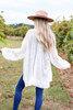 Ivory - Lightweight Knit Baggy Cardigan Sweater Back View