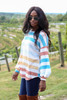 Multi - Striped Balloon Sleeve Tee on Dress Up Model