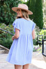 Blue - Ribbed Ruffle Sleeve Ribbed Dress Back View