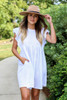 White - Ribbed Ruffle Sleeve Ribbed Dress Front View