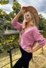 Pink - Chenille Cropped Sweater Side View