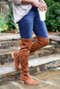 Tan - Over The Knee Faux Suede Lace Back Boots on Model