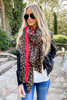 Dress Up Model wearing Leopard Print + Red Contrast Fleece Scarf Front View