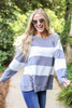 Model wearing Grey and White Striped Pullover Full View