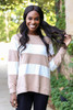 Taupe - and White Striped Pullover