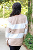 Model wearing Taupe and White Striped Pullover Back View