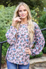Blush - Leopard Print Knit Balloon Sleeve Top Front View