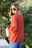 Rust - Balloon Sleeve Waffle Knit Sweater Back View