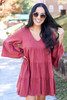 Marsala - Tiered Bell Sleeve Babydoll Dress