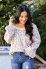 Ivory - Leopard Print Relaxed Fit Balloon Sleeve Sweater