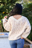 Ivory - Leopard Print Relaxed Fit Balloon Sleeve Sweater Back View