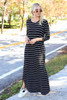 Black - and White Striped 3/4 Sleeve Maxi Dress