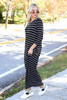 Dress Up Model wearing Black and White Striped 3/4 Sleeve Maxi Dress Side View
