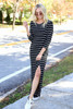 Black - and White Striped 3/4 Sleeve Maxi Dress Side View