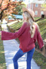 Marsala - Bell Sleeve Pullover Back View