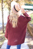 Burgundy - Oversized Knit Sweater Back  View