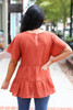 Rust - Eyelet Lace Top Back View