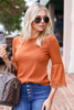 Rust - Lace Sleeve Blouse