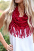 Burgundy - Chenille Fringe Infinity Scarf from Dress Up