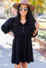 Black - Woven Button Front Babydoll Dress from Dress Up