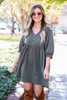 Olive - Woven Button Front Babydoll Dress from Dress Up