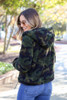 Model wearing the Camo Sherpa Cropped Jacket - Back View
