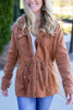 Model wearing the Fleece Lined Utility Jacket from Dress Up in Camel - Front View