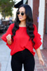 Red - Ruffle Sleeve Blouse on Dress Up Model
